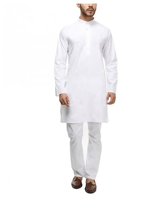 Royal Kurta Men Regular Fit Linen Full Sleeves Solid Kurta Pyjama - White