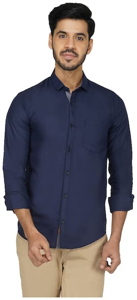RoyalTail Men Navy Blue Solid Regular Fit Casual Shirt