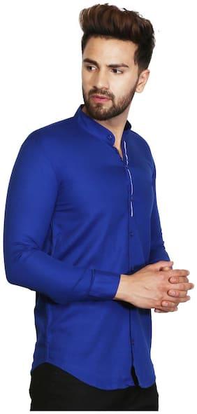 ROYCE TREND Men Blue Solid Slim Fit Casual Shirt