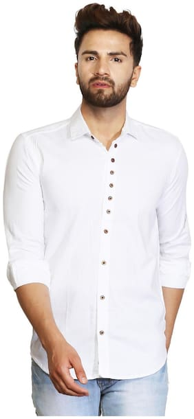 ROYCE TREND Men White Solid Slim Fit Casual Shirt