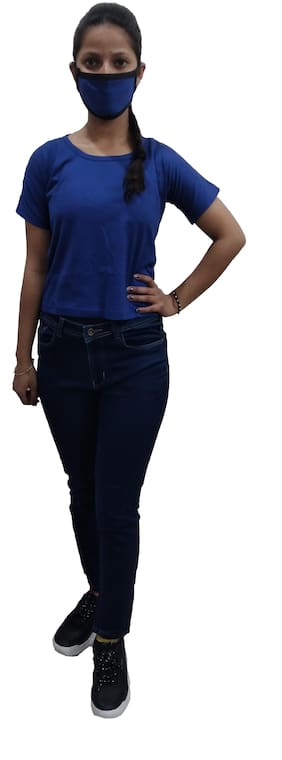 RRC Cotton Solid Half Sleeves Navy Blue Color T-Shirt with Free Mask For Women