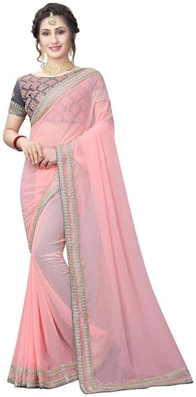 Ruchika Fashion Pink Georgette Solid Desinger Saree With Blouse