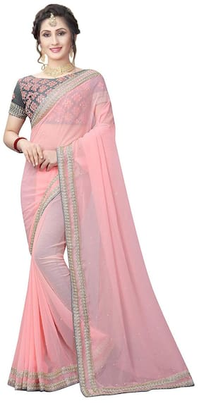 Ruchika Fashion Georgette Kutch Embroidered work Saree - Pink , With blouse