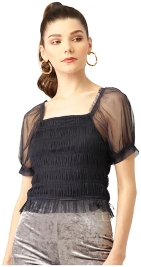 Rue Collection Women Polyester Solid Navy Blue  Top