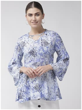 Rue Collection Viscose Rayon Multi Printed Peplum ForWomen