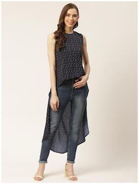Rue Collection Women Polyester Geometric Navy Blue Regular Tunic