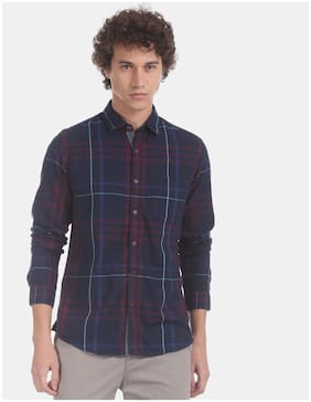 Ruf And Tuf Men Blue Checked Slim Fit Casual Shirt