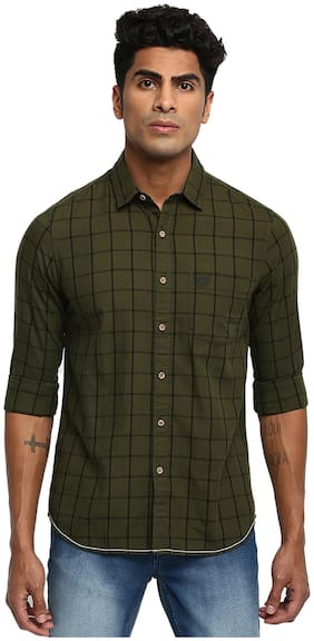 Ruf And Tuf Men Green Checked Regular Fit Casual Shirt