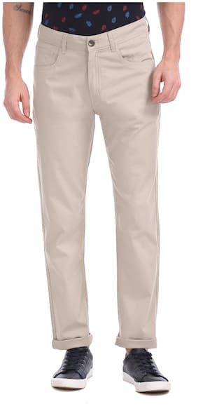 Ruf & Tuf Men Cotton Solid Casual Trouser Beige