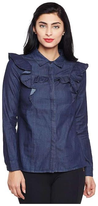 Oxolloxo Women Blue Solid Slim Fit Shirt