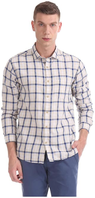 RUGGERS Men White Checked Regular Fit Casual Shirt