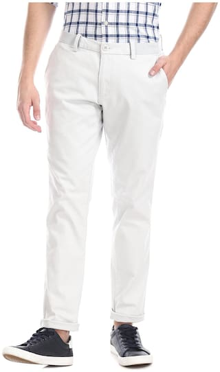RUGGERS Men Grey Solid Tapered fit Regular trousers