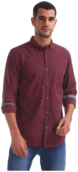 RUGGERS Men Red Checked Regular Fit Casual Shirt