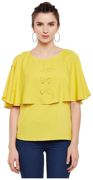 Ruhaan's Women Crepe - Regular top Yellow