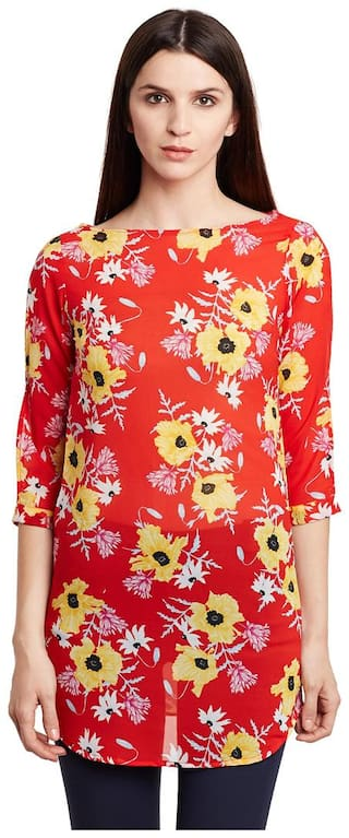 Ruhaan's Red Color Floral Printed Tunic