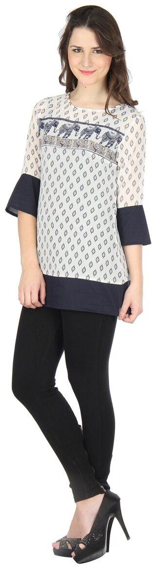 Ruhaan's Women Polyester Printed - Regular Top White
