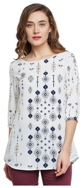 Ruhaan's Women's White Color Printed Top in Crepe