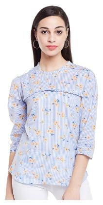 Ruhaan's Women Cotton Floral - A-line top White