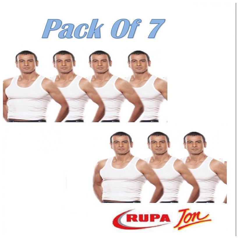Rupa Jon 7 Sleeveless Round Neck Men Vest   White by G G Traders