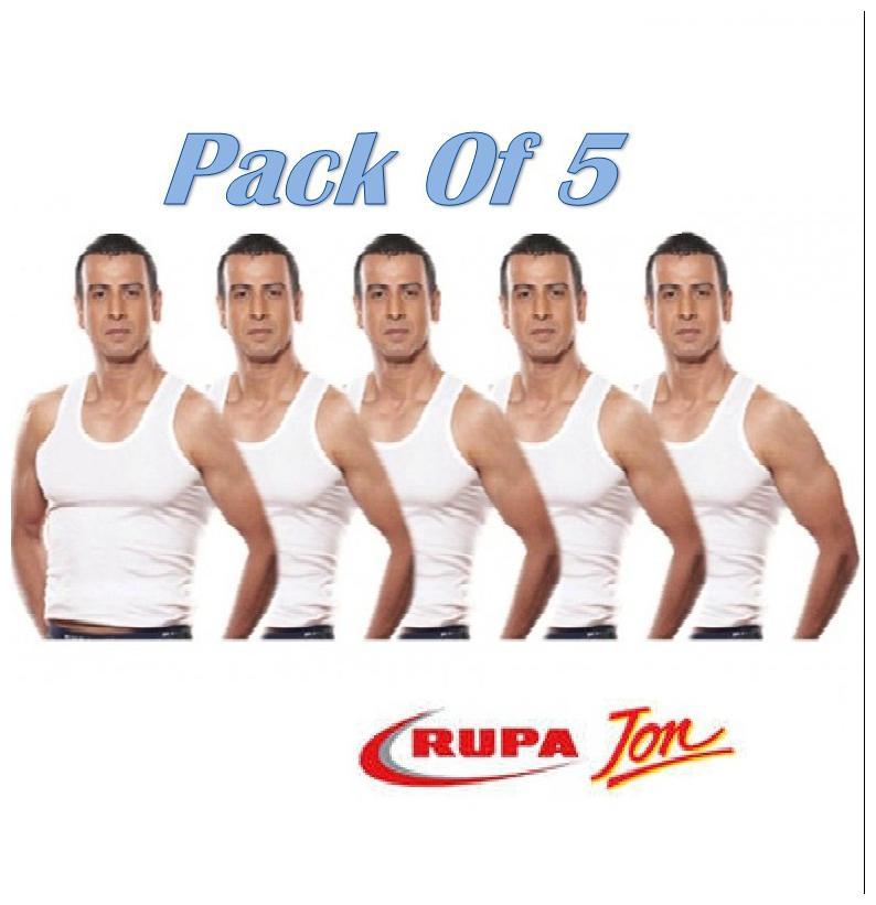 Rupa Jon 5 Sleeveless Round Neck Men Vest   White by G G Traders
