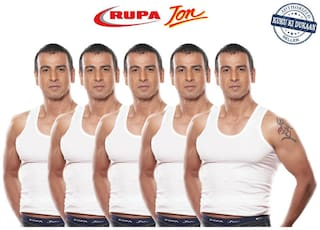 Rupa Jon RN Pack Of 5 White Cotton Vests