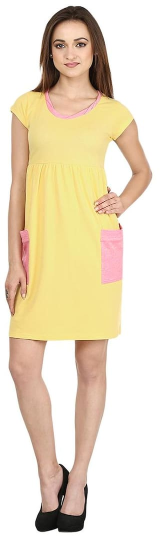 Ruse Pink & Yellow Solid Cotton Dress