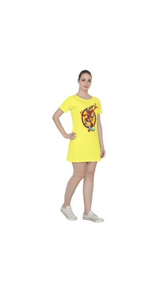 Bio Women's Dress Washed Cali Tee Yellow Ruse Cotton Skater T5Bpp