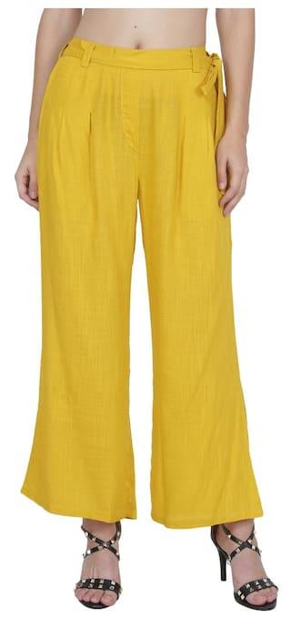Ruse Women's Cotton Mustard Yellow Mixture Pleated Pants