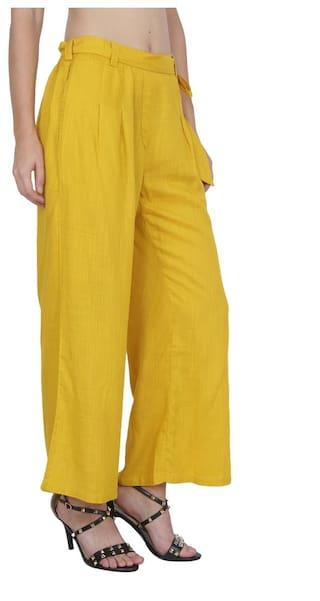 Pants Cotton Women's Mixture Ruse Pleated Mustard Yellow nZ7BxBwq6g