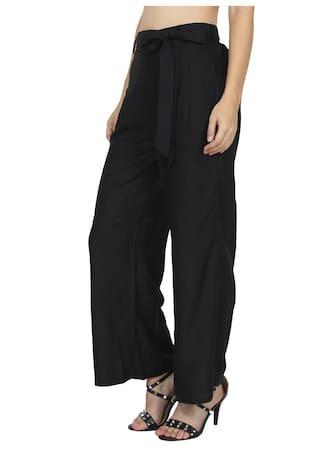 Cotton Deep Ruse Pants Pleated Black Mixture Women's Hfwq5w0