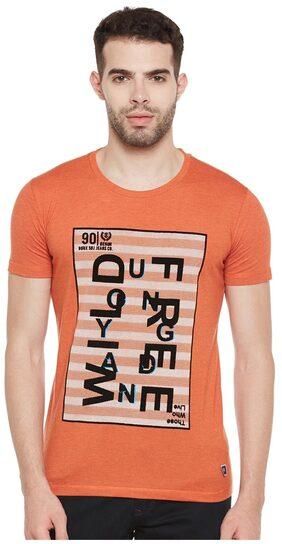 Duke Men Regular Fit Round Neck Printed T-Shirt - Orange
