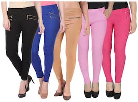 Women Straight Fit Jegging Pack Of 5