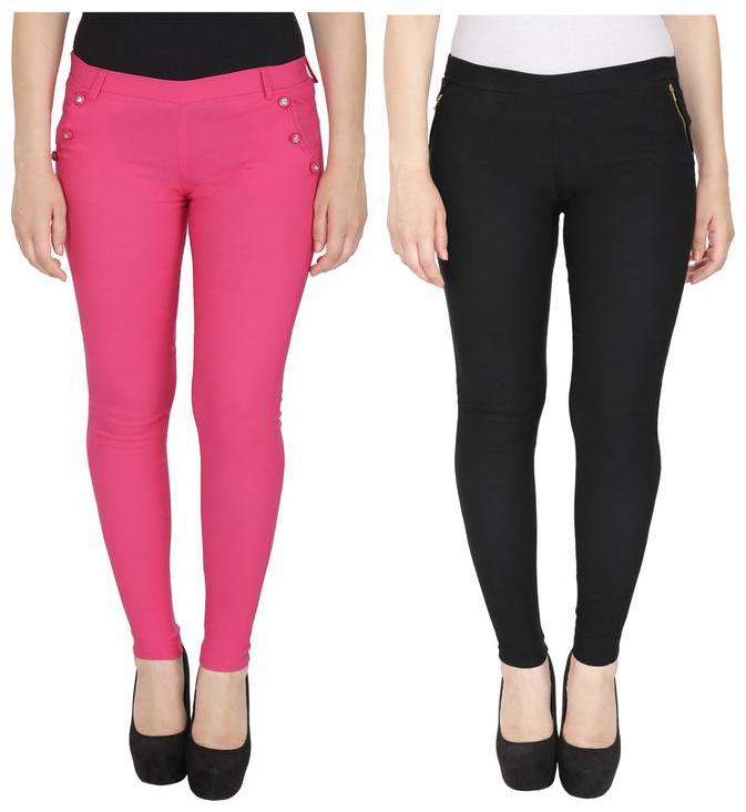 RZLECORT Women Pink   Black Straight fit Jegging