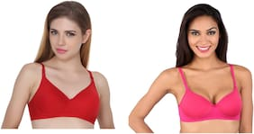 S C TRENDZ  Padded Cotton Demi Cup Bra (set of  2) - Red & Pink Color