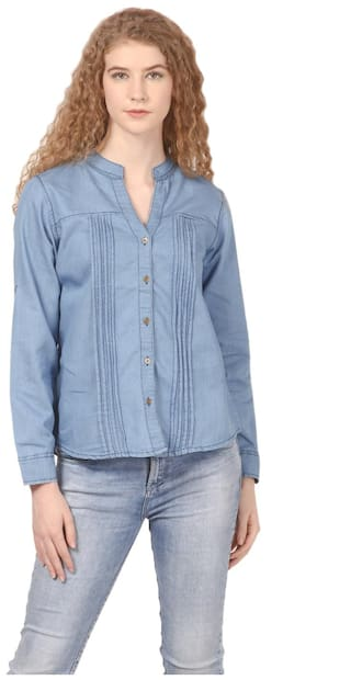 Fit Blue Casual Shirt Cotton Saadgi Denim Regular SFn7t