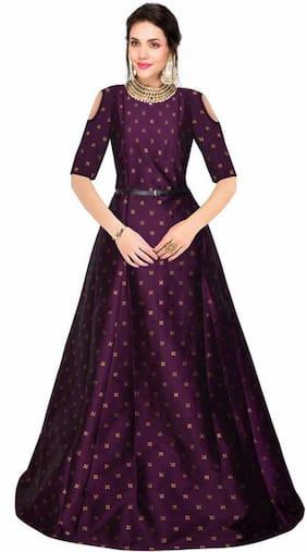 Saadhvi Silk Blend Printed Purple Only Gown  for Women