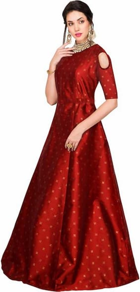 Saadhvi Silk Blend Printed Red Only Gown  for Women