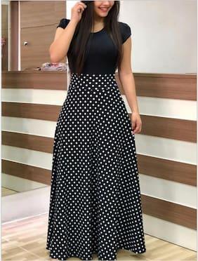 Saadhvi  Women Crepe Polka Dots Black  Gown