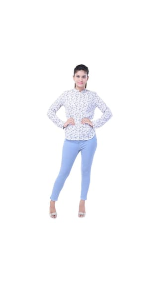 SAARVI FASHION'S Beautiful Poly Crepe Printed White Shirt