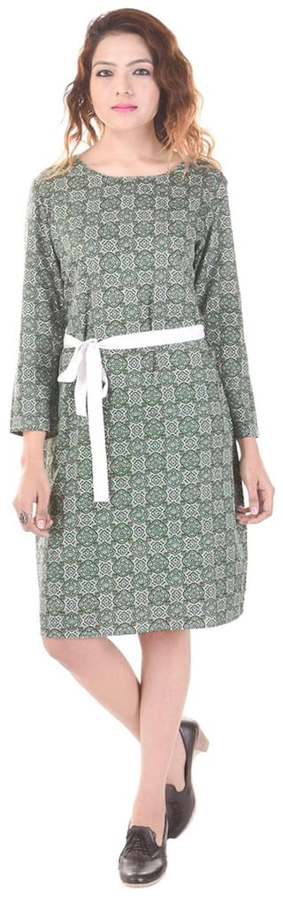 Saarvi Fashion Multicolor 3/4 Sleeves Round Neck Printed Straight Poly Crape Knee Lengh Dress