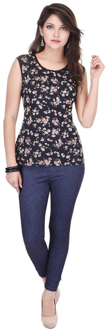 Saarvi Fashion Casual Sleeveless Printed Women's Black Top