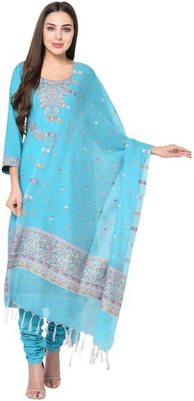 SAFAA Blue Unstitched Kurta with bottom & dupatta With dupatta Dress Material