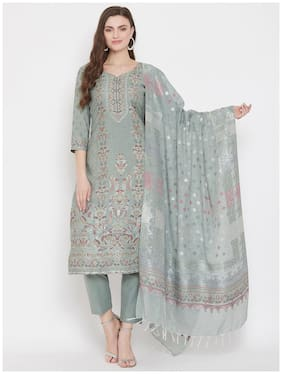 SAFAA Olive Unstitched Kurta with bottom & dupatta With dupatta Dress Material