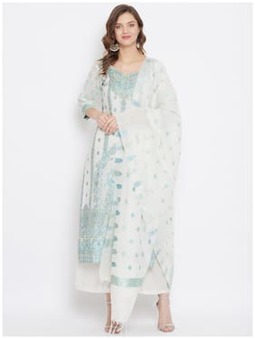 SAFAA White Unstitched Kurta with bottom & dupatta With dupatta Dress Material