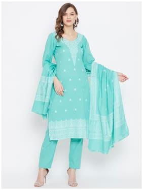 SAFAA Green Unstitched Kurta with bottom & dupatta With dupatta Dress Material