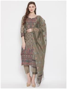 SAFAA Olive Unstitched Kurta with bottom & dupatta With dupatta Dress Material
