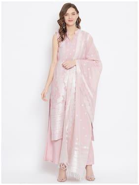 SAFAA Peach Unstitched Kurta with bottom & dupatta With dupatta Dress Material