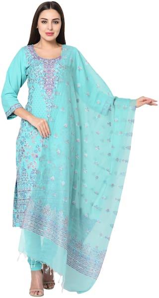 SAFAA Turquoise Unstitched Kurta with bottom & dupatta With dupatta Dress Material