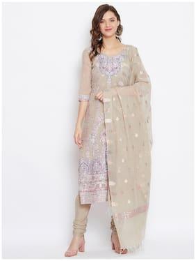 SAFAA Beige Unstitched Kurta with bottom & dupatta With dupatta Dress Material