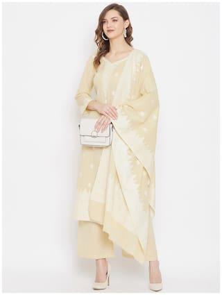 SAFAA Yellow Unstitched Kurta with bottom & dupatta With dupatta Dress Material